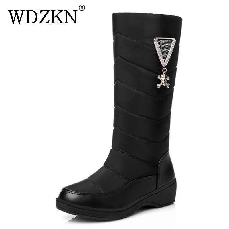 WDZKN 2017 Wedge Winter Boots Women Waterproof Thick Plush Warm Snow Boots Slip On Mid Calf Rhinestones Women Winter Shoes<br>