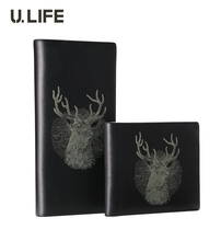 U.LIFE - Luxury Brand Designer Deer Totem Black Supreme Cowhide Genuine Leather Long & Horizontal Men's Wallet Male Purse J50