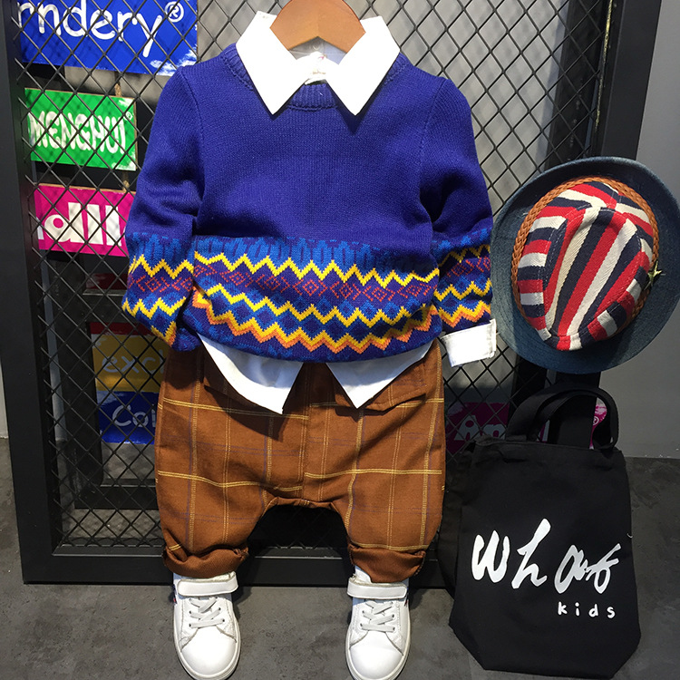 3pcs boys clothing set kids blue sweater white shirt and yellow pant set baby fashion clothes spring autumn children clothes 2-7<br>