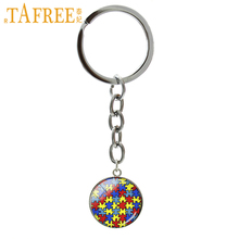 TAFREE Autism Heart key chain color Autism Awareness Jigsaw Puzzle Pieces keychain charm women jewelry Caring for autism B1051(China)