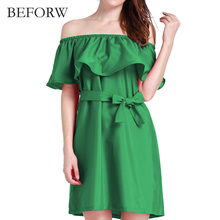 BEFORW Women Sexy Midi Dress Summer Fashion Casual Off Shoulder Party Dresses Big Size Women Clothing White Red Dress Vestidos