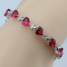 Heart Rose Red Crystal 925 Sterling Silver Bracelet Health Fashion  Jewelry For Women Free Jewelry Box SL68