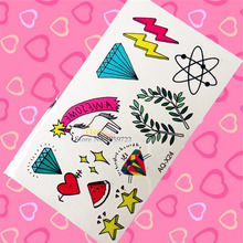 1PC Unicorn Designs Fake Temporary Tattoo Child Body Art Arm Leg Face Tattoo Sticker HAQX24 Crystal Diamonds Flash Tattoo School