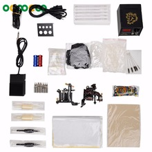 T02 2015 Professional Tattoo Kit 2 x Casting Tattoo Machine + Power Supply + Pedal + Needle + Accessories Bag etc(China)
