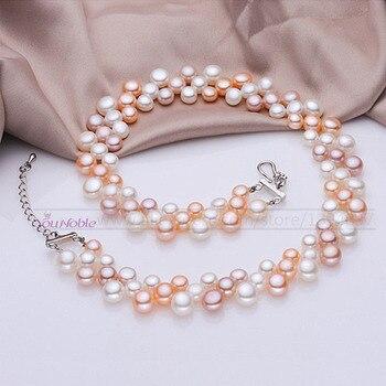 3 ряда естественных пресноводных колье многослойные ожерелья женщины, реальный жемчужное ожерелье невесты свадебные воротник мама подарок на день рождения