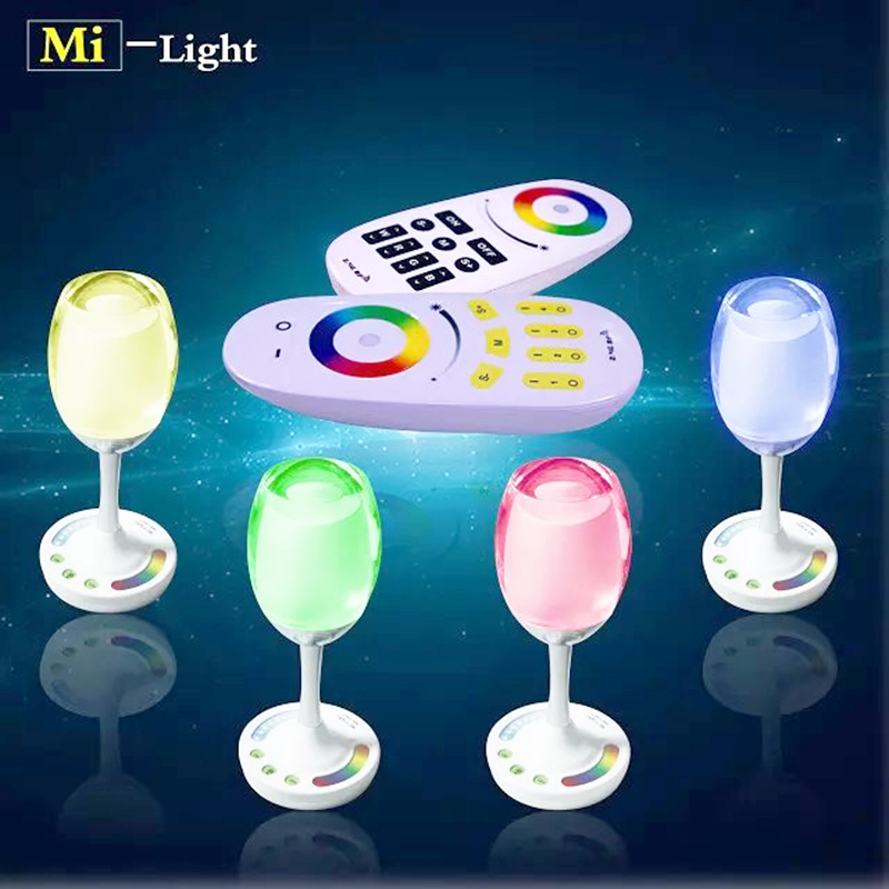 2W RGB+White/Warm White Color Wine Cup Win Light with 2.4G Remote Control Mi-Light, LED Night Lamp for Bar/KTV/Party Decoration<br>
