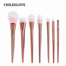 CHILEELOVE 7 Piece Rose Gold Women Girl Makeup Brush Kit Powder Blush Eyeshadow Base Cosmetics Brushes Makeover