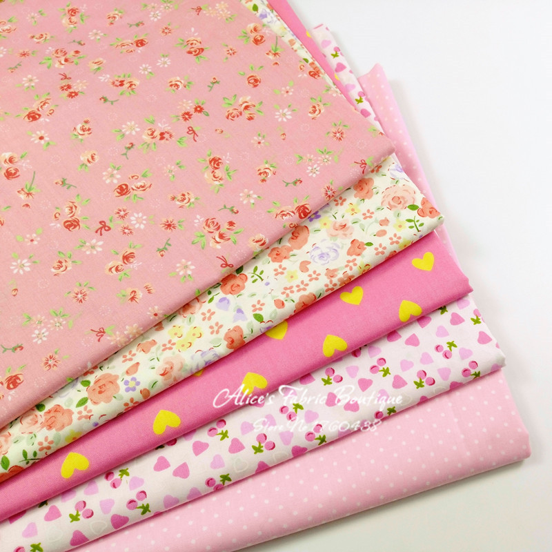 5 pcs/ lot pink group lovely heart dot stripe flower printed cotton fabric for diy sewing dresses shirts bags 40*50cm(China (Mainland))