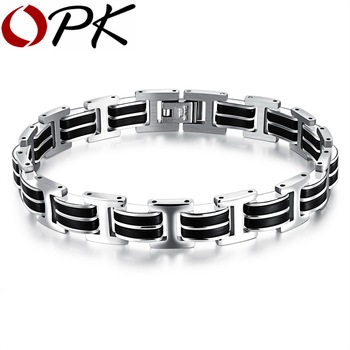 OPK Genuine Silicone Mens Bracelet Stainless Steel Cool &Casual Style Bracelet Double Safety Claspes Gift GS830