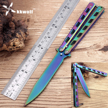 KKWOLF Colorful Practice BALISONG METAL BUTTERFLY Steel Trainer Knife Comb Folding Blade Knife butterfly rainbow game knife tool