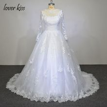 Lover Kiss Vestido De Noiva Sheer Tulle Neck Sleeves Sexy Wedding Dress Lace Ball Gown Long Sleeves Wedding Dresses Bridal Gowns