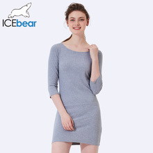 ICEbear 2017 Three Quartet Sleeve O-Neck Sexy High Quality Summer Women Dress Elegant Waistline Summer Dress B001D(China)