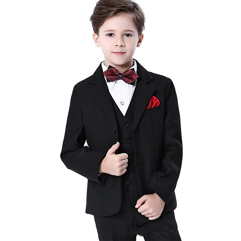 Children Boys Suit For Piano Wedding Party Kids Boys 5Pcs Sets Blazer+Vest+Pant+Shirt+Bowtie Baby Boy Suits Formal Clothes Y64