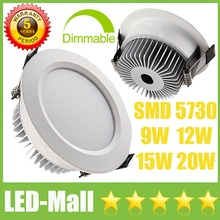 EURO Popular CREE 9W 12W 15W 20W SMD5730 Dimmable /Non LED Downlights Fixture Recessed Ceiling Cabinet Down Lights Lamp CE SAA