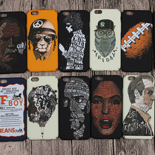 Fashion Cool Black Style Luxury owl Case for Apple Head portrait Plastic Hard Back Cover for iPhone 6 6s plus 4.7 5.5 Best Gifts