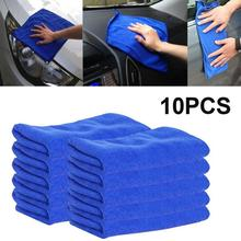 10pcs 25x25cm Ultra Soft Microfiber Auto Car Cleaning Towel Cloth Wipe Polish Home Blue Car Furniture Cleaning Duster Soft Cloth