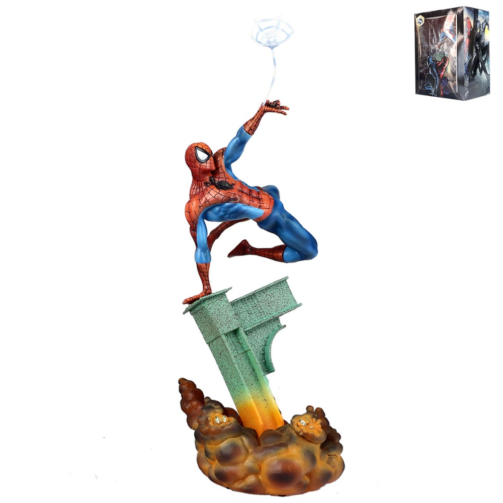 Movie Spider-Man Spiderman Web Super Hero Statue PVC Action Figure Model Toy Christmas Gift for Children DC002020 Free Shipping<br>