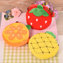 2017 New design Cartoon Children Plush Bag Kids lovely Fruit Pattern Messenger Type Bag Plush Toys  for Girls Random Color