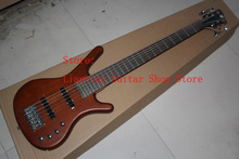 Factory Wholesale High quality one piece set neck Through body 6 string W brown bass guitar with 9V Active Pickups -1411-10(China)