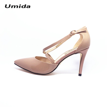 Umida Brand Women Shoes Genuine Leather Shoes Hot High Heels Cross-tied Pumps Sexy Women High Heels Shoes Pointed Toe Shoes(China)