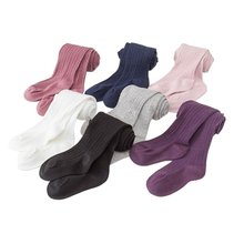 Kids Warm Thick Elastic Waist Tights Baby Girl's Cotton Knitted Solid Pantyhose