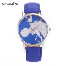 2017 New Arrival Brand Watch Mens Women Fashion Wristwatch Casual Travel Watches Leather World Map Clock(China)