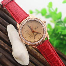 Free Shipping!Promotion price!Gold plate round case,crystal deco,Effeil tower dial,Gerryda fashion quartz woman lady watches(China)