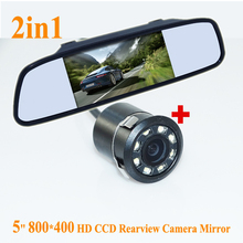 "Promotion CCD backup reversing Camera +5"" HD 800*480 Car Mirror Monitor , Rear view mirror monitor car parking Rearview camera"