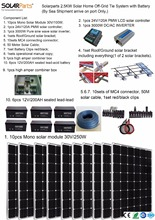 Boguang Solarparts Seriers 1x 2500W Solar Home off-grid tie systems sea shipment 10pcs 250W mono solar modules bracket battery