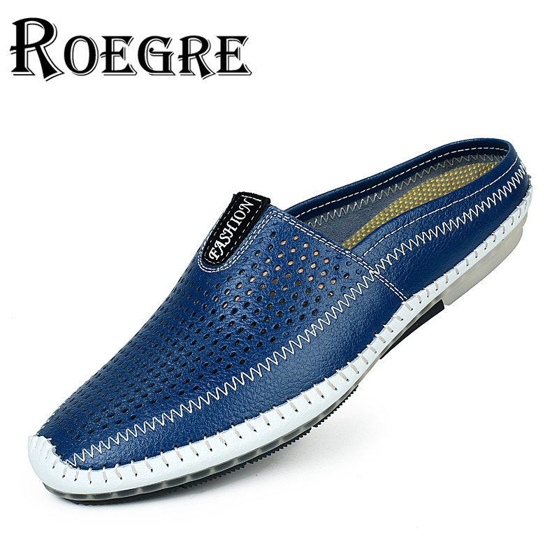 ROEGRE 2017 New Arrival Mens Half Sandals Loafers Soft Leather Summer Style Male Slip On Hollow Out Casual Moccasins Blue Black<br>