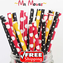150pcs Mixed 3 Designs MR MOUSE Biodegradable Paper Drinking Straws, Black, Red, Yellow Polka Dot and Swiss Dot,Party Supplies(China)