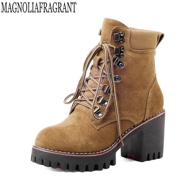 snow boots womens Ankle Boots Square heel Lace-Up Round Toe Big size Genuine Leather Martin winter boots  k494<br>