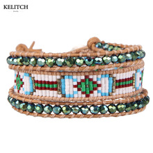 Kelitch Jewelry 1Pcs Green 4MM Crystal Beaded&Multicolor Natural Seed beads Charm Bangle Women Bracelet AZ3W-1509C(China)