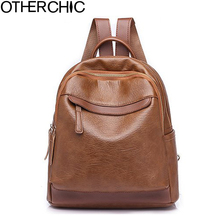 OTHERCHIC Fashion Simple Women Backpacks PU Leather Vintage Backpack For Teenage Girls Sac A Dos Femme Female Knapsack L-8N01-10(China)