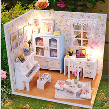 2016 New Doll House Furniture DIY Miniature Dust Cover 3D Wooden Dollhouse Toys Villa LED Lights Gift Series(China)
