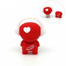Red love heart music boy usb flash drive disk memory stick pendrive Pen drive personalized mini computer gift 4 8gb 16gb 32gb(China)