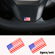 2pcs/set Steering wheel 3D Epoxy Car Styling fit for Honda Fiat abarth BYD Volvo Car Sticker USA National Emblem(China)