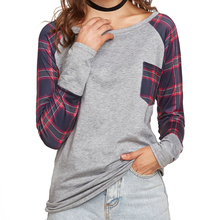 Women Grid Plaid Printed T-shirts Long Sleeves Pullovers Casual Lady Tops Comfort Soft Cotton Female Clothing O-Neck Basic Shirt