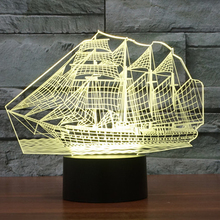 2017 3D Retro Ancient Sailing Sea Boat Ship LED Lamp Chinese Style 7 Colors Changing Illusion Night Light USB Table Desk Decor