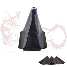 PVC Carbon Fiber Look Red/Gold/Blue Stitch  Shift Knob Shifter Boot Cover MT/AT
