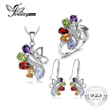JewelryPalace Natural Amethyst Garnet Peridot Citrine Blue Topaz Gemstone Jewelry Set Solid 925 Sterling Sliver Fine Jewelry(China)