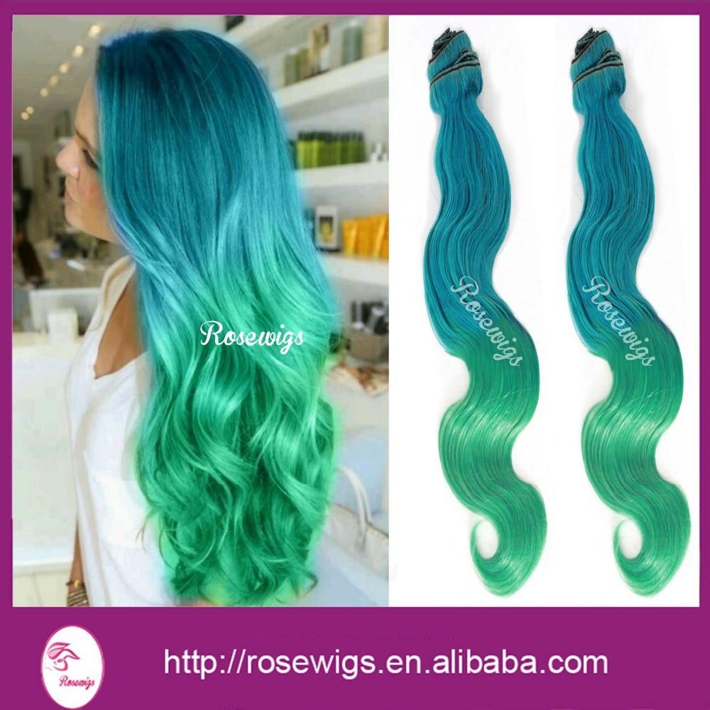 6A Virgin Ombre Brazilian Hair Bodywave Turquoise /Green Ombre Virgin Brazilian Hair 3packs /lot<br><br>Aliexpress