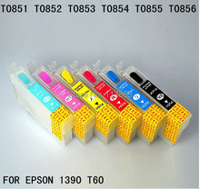 6 color 85N T0851N -T0856N Refillable ink cartridge for EPSON 1390 T60 A3  printer Auto reset chip