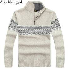 AlexNamgyal Sweater Men 2017 New Winter Mens Cashmere Sweater Coat Thick Zipper Casual Sweater Stand Collar Printing Clothes(China)