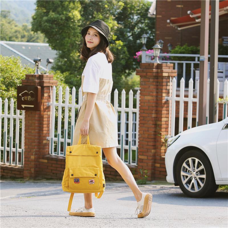 Menghuo Brand Female Women Canvas Backpack Preppy Style School Lady Girl Student School Laptop Bag Cotton Fabric bolsasTDVV3485