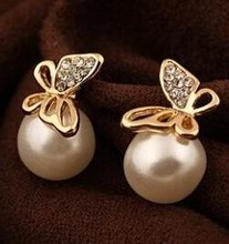 Imitation Pearl Cz Rhinestones Stud Earrings Female Butterfly Earrings Elegant Lady Temperament Exquisite Gold Jewelry