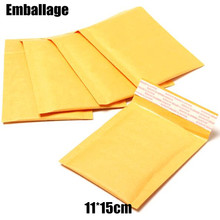 Packaging 11*15CM Mailing Bags Yellow Kraft Bubble Mailer International Transportation Post Bubble Packing Bag PP586