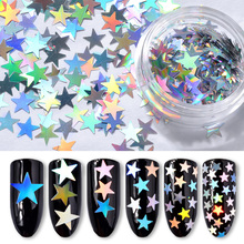 6Pcs/Set Holographic Silver AB Nail Art Sequins Laser Sparking Star Design Nail Glitter Flakes For DIY Manicure Tips Decorations(China)