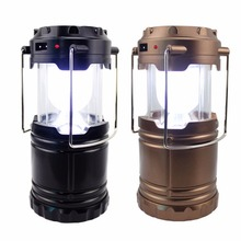 Outdoor Black Solar Power Camping Light 2 Color 5W 6 LEDs Portable Collapsible Lantern Rechargeable Double Energy Emergency Lamp(China)