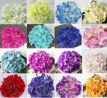 20 Colors 54pcs Flower petals quality full big artificial hydrangea silk flowers head wedding decorative flower